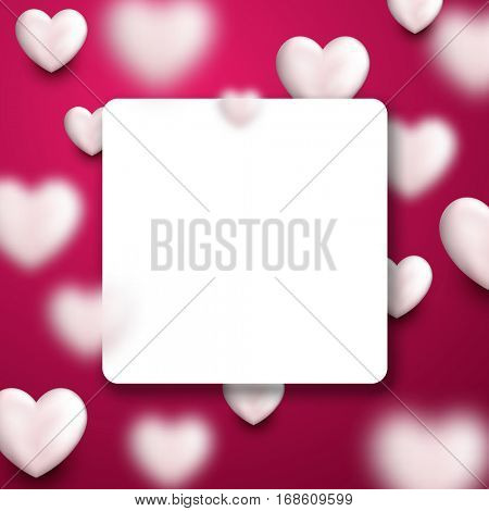 Valentine's pink square love background with white 3d hearts. Vector illustration.