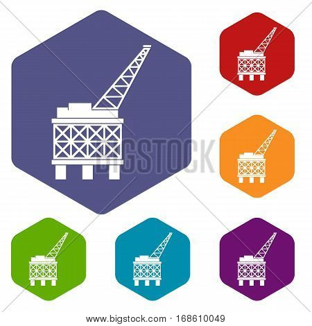 Oil platform icons set rhombus in different colors isolated on white background