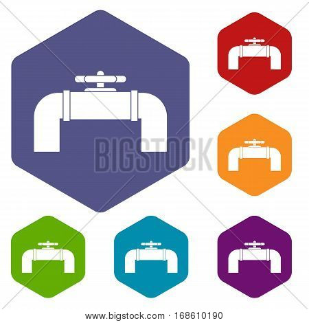 Industrial pipe valve icons set rhombus in different colors isolated on white background