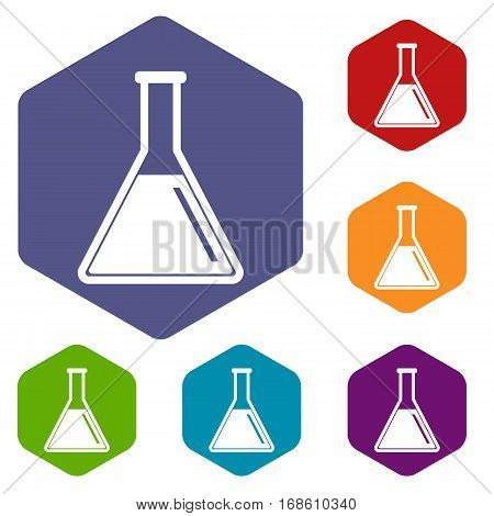 Test tube with oil icons set rhombus in different colors isolated on white background