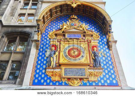 La Conciergerie Horloge (clock) Which Are Located On The Building  Palais De Justice, Paris, France.