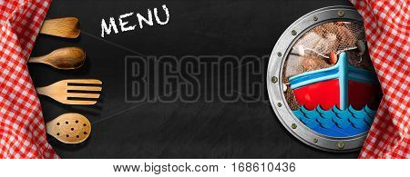 Empty blackboard with a porthole fishing boat waves fishing net and checkered tablecloths with wooden kitchen utensils. Template for a fish menu
