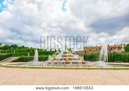 Versailees, France- July 02, 2016 : Latona Fountain Pool, Opposite The Main Building Of The Palace O