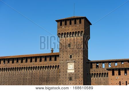 Detail of Sforza Castle XV century (Castello Sforzesco) in Milan Lombardy Italy with Tower of Bona and Giovia