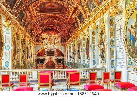 Fontainebleau, France - July 09, 2016 : Fontainebleau Palace Interiors. The Room Above The Chapel. C