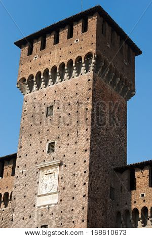 Detail of Sforza Castle XV century (Castello Sforzesco) in Milan Lombardy Italy with Tower of Bona