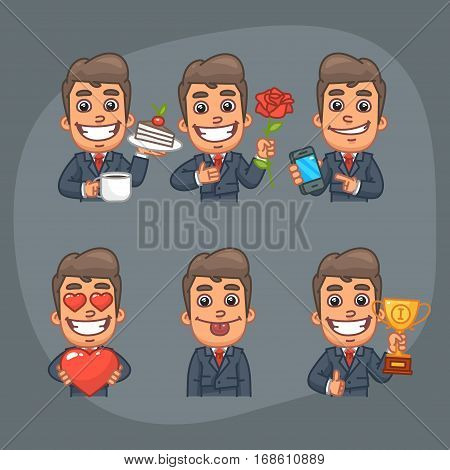 Vector Illustration, Businessman Holding Cup of Coffee, Cake, Flower, Rose, Mobile Phone, Heart, Cup, Format EPS 8