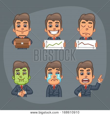 Vector Illustration, Businessman Holding Briefcase, Graphics, Glad, Upset, Crying, Nausea, Format EPS 8