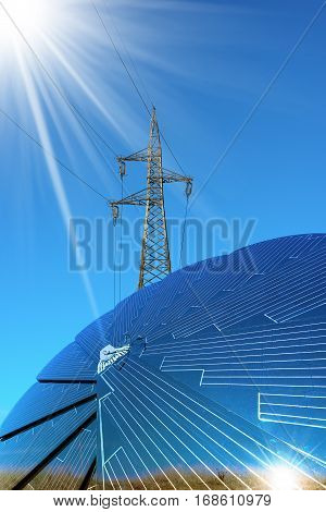 Solar panel in the shape of a flower on a clear blue sky with a electricity pylon with power line - Green energy concept