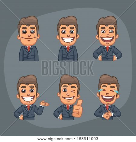 Vector Illustration, Businessman Holding Smiling, Laughing, Showing Thumbs Up, Indicating, Format EPS 8