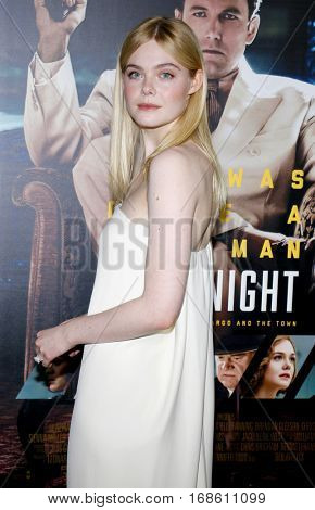 Elle Fanning at the Los Angeles premiere of 'Live By Night' held at the TCL Chinese Theatre in Hollywood, USA on January 9, 2017.