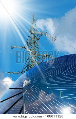 Solar panel in the shape of a flower on a blue sky with clouds and an electricity pylon with power line - Green energy concept