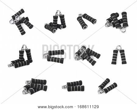 Black carpal expander training device isolated over the white background, set of eleven different foreshortenings