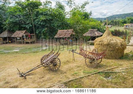 Mae Hong Son, Thailand - JAN 2, 2017: Both wooden cart near a bamboo bridge ( Su Tong Pe bridge) in Mae Hong Son province Thailand.
