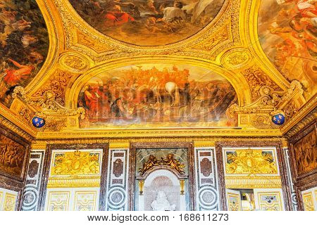 Versailles, France - July 02, 2016 : Diana Room- Salon On The First Floor Of The Chateau De Versaill