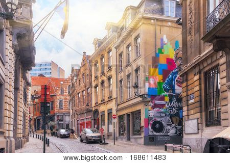 Brussels, Belgium - July 07, 2016 : City Views Cozy European Cities - Brussels, Belgium And The Euro