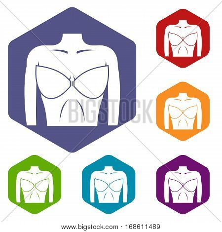 Female breast in a bra icons set rhombus in different colors isolated on white background