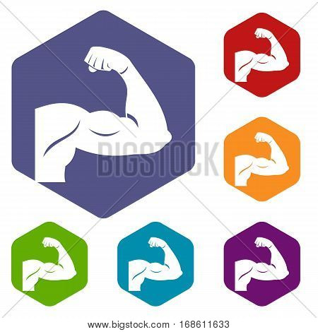 Biceps icons set rhombus in different colors isolated on white background