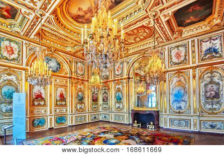 Fontainebleau, France - July 09, 2016 : Fontainebleau Palace Interiors. The Council Chamber. Chateau