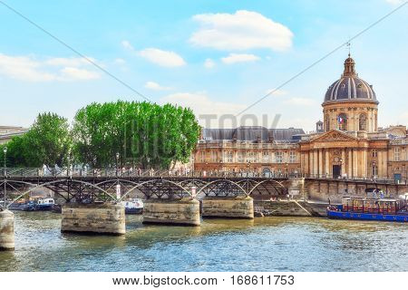 Paris, France - July 06, 2016 : Mazarin Library (bibliotheque Mazarine) And  Bridge Of The Arts ( Po