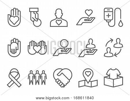 charity and donation silhouette icons flat line design vector.