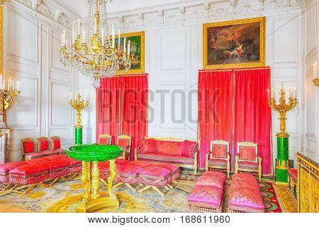 Versailles, France - July 02, 2016 : Malachite Salon (apartaments) In The Grand Trianon. Chateau De