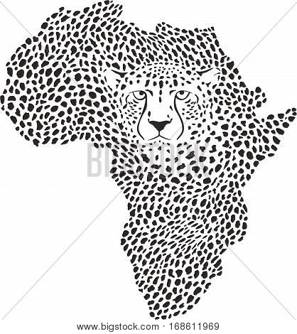 vector illustration symbol Africa in cheetah camouflage