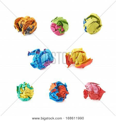 Colorful crumbled paper ball isolated over the white background