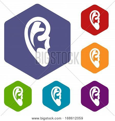 Ear icons set rhombus in different colors isolated on white background