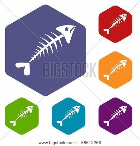 Fish bone icons set rhombus in different colors isolated on white background