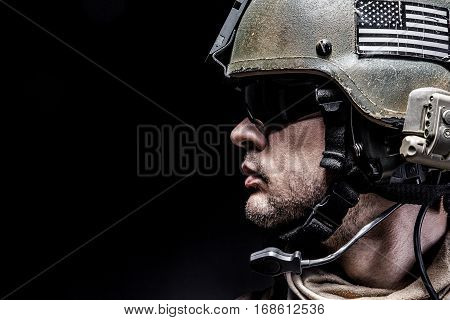 United states Marine Corps special operations command Marsoc raider. Studio shot of Marine Special Operator black background