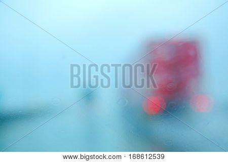Raining windshield blurred image, no visibility