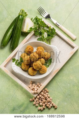 vegetarian meatballs with fennel zucchinis and chickpeas