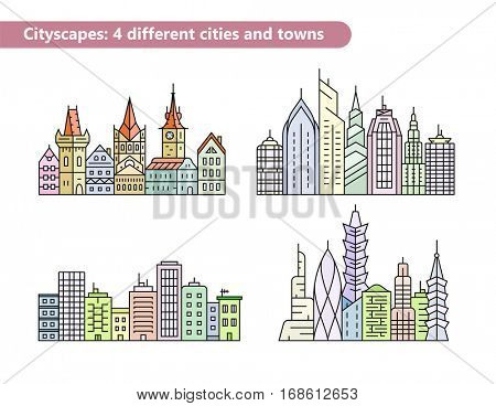 Linear vector cityscape illustrations. Urban city and old town skyline and buildings. Building vector line icons. All lines contain non-expanded stroke