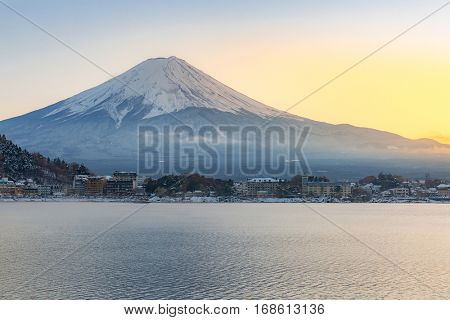 Mountain Fuji view from the Kawaguchiko lake Kawaguchi