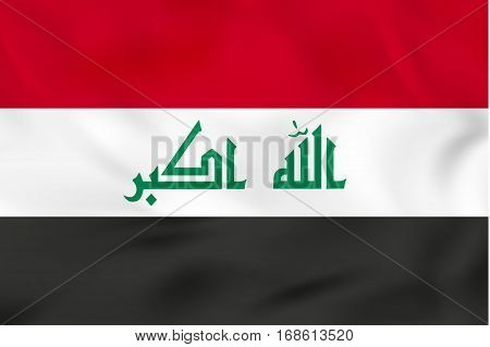 Iraq waving flag. Iraq national flag background texture. Vector illustration.