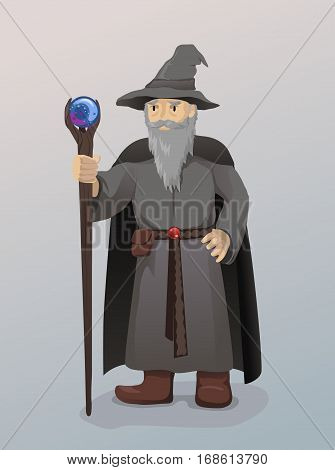 Vector Illustration of Wizard With Magic Wand