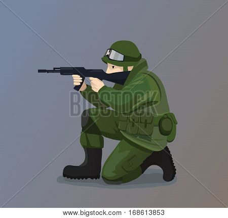 Vector Illustration of Soldier Holding A Gun