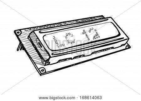 Lcd display module isolated on white background. Vector illustration in a sketch style