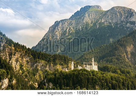 Neuschwanstein castle in Beautiful summer romantic road view Fussen Bavaria, Germany