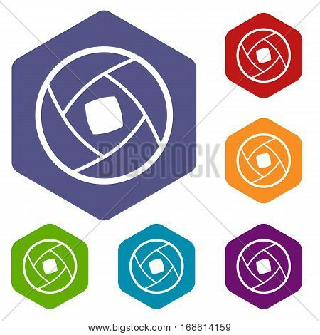 Semi-closed lens icons set rhombus in different colors isolated on white background