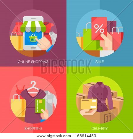 Set of flat design concept icons for online shopping. Icons for online shop, sale, shopping, delivery.