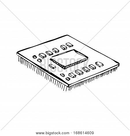Microprocessor cpu processor isolated on white background. Vector illustration in a sketch style.
