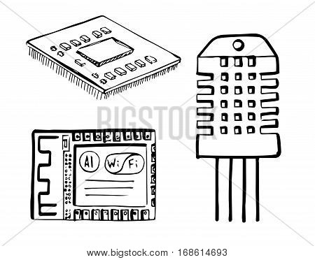 Cpu wi-fi module electronic sensor isolated on white background. Vector illustration in a sketch style