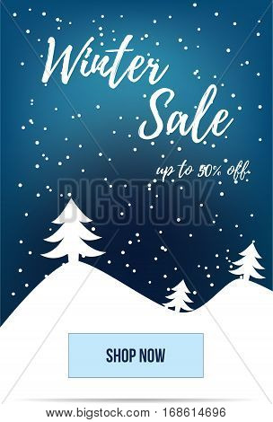 Winter sale advertisement banner. For mobile website promotion ads and newsletter.