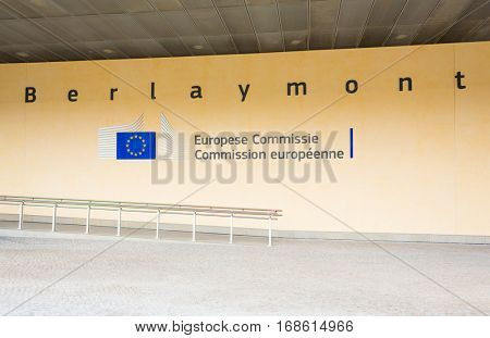 BRUSSELS, BELGIUM - AUG 9, 2014: Berlaymont building entrance. Berlaymont houses headquarters of European Commission.
