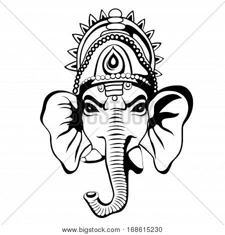 Lord Ganesha portrait sketch on a background. Vector EPS 10