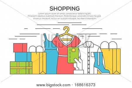 Clothes shopping concept illustration, thin line flat design. Clothing, bags, accessories and shoes.