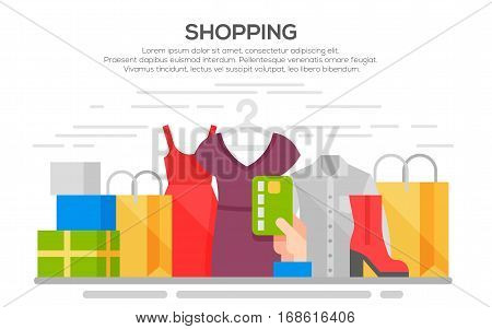 Clothes shopping banner concept illustration with clothing, accessories and shoes