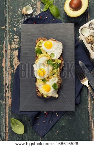 Fried egg sandwich: quail eggs, avocado and cheese on whole wheat bread